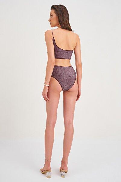 Kadın Dorsia Simli Bikini Üstü Mor