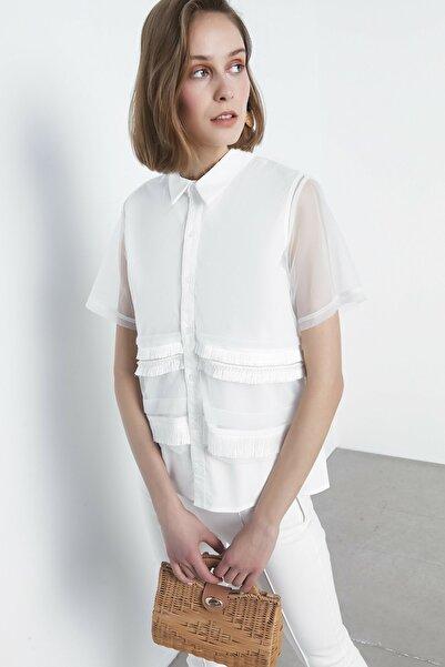 Kadın Beyaz İp Püsküllü Gömlek IS1200025146002