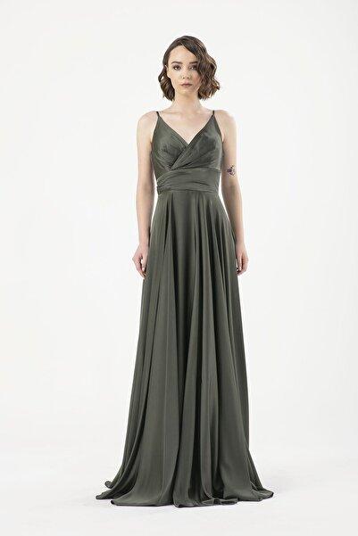 MAXXE Kadın Haki Saten Elbise
