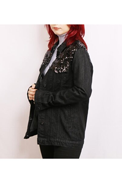 Fashion Friends Kadın Siyah Pul Payetli Denim Kot Ceket