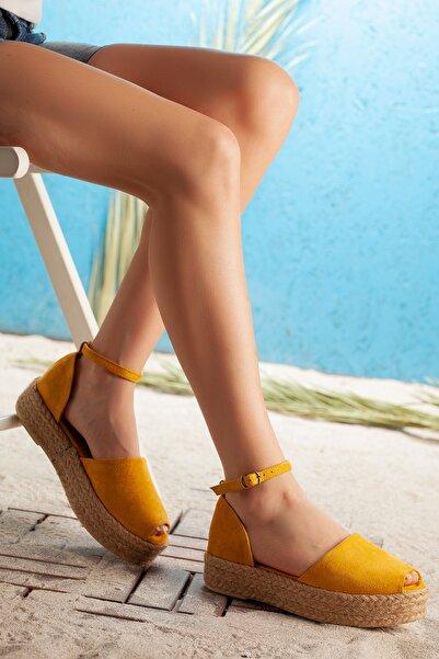 Moda Değirmeni Süet Kadın Sandalet Hardal  Md1026-123-0002