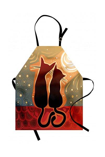 Orange Venue Hayvan Deseni Mutfak Önlüğü Aşık Kedi
