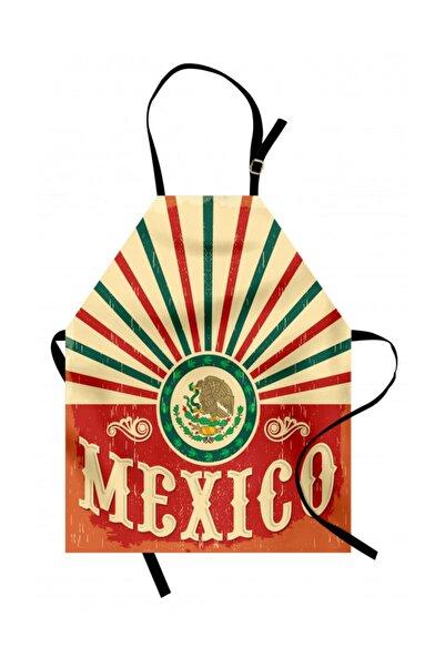 Orange Venue Ülkeler ve Şehirler Mutfak Önlüğü Retro Meksika Bayrağı Desenli Rengirenk