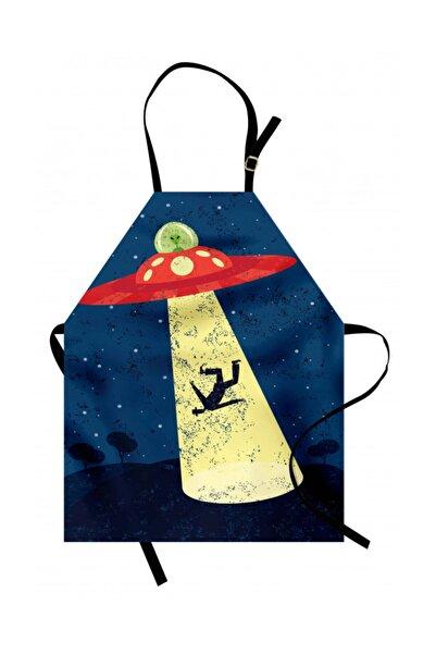 Orange Venue Gökyüzü Mutfak Önlüğü Uzay Temalı Eskitilmiş Komik Desen
