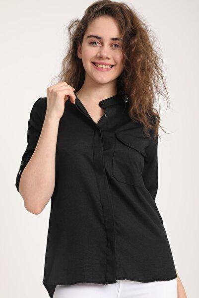 Kadın Siyah Cepli Kol Katlı Asimetrik Gömlek Mtrn3981