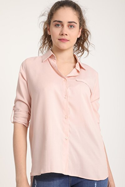MD trend Kadın Pudra Yırtmacı Düğmeli Cepli Gömlek Mtrn4023