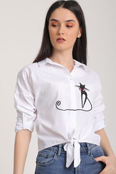MD trend Kadın Beyaz Kedi Nakışlı Bağlamalı Gömlek Mdt5850