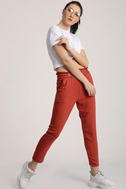MD trend Kadın Kiremit Bel Lastikli Dar Paça Pantolon Mdt6186