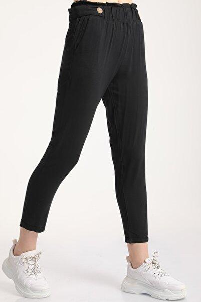 MD trend Kadın Siyah Bel Lastikli Dar Paça Pantolon Mdt6186