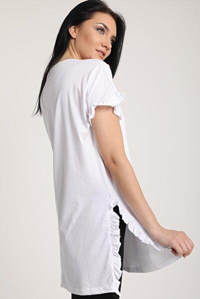 MD trend Kadın Beyaz Yırtmaçlı Tunik Penye T-Shirt Mdt6299