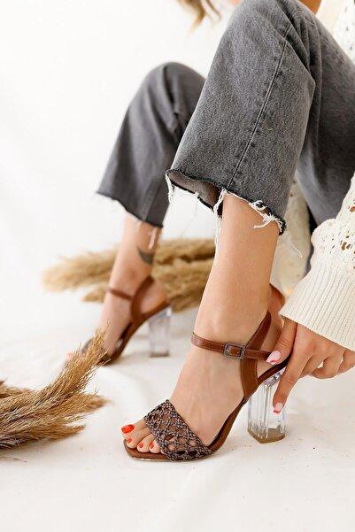 Limoya Kadın Taba Örgü Bantlı Şeffaf Topuklu Kemerli Ayakkabı
