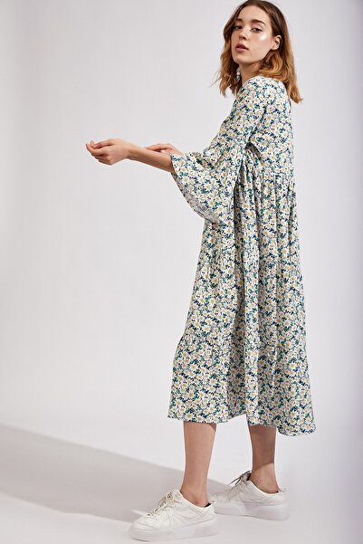 Kadın Yeşil Çiçekli Uzun Viskon Elbise Dd00662