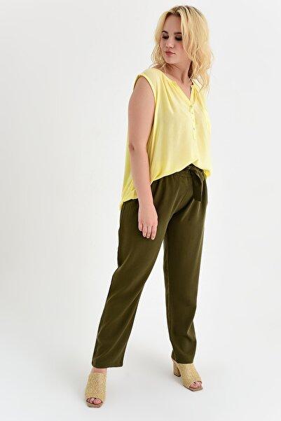Big Free Kadın Haki Beli Lastik Kuşaklı Cepli Dokuma Şalvar Pantolon Tb20Yb011115
