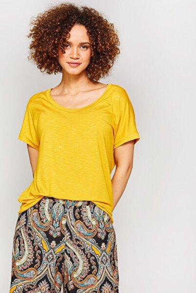 Faik Sönmez Kadın Hardal Yuvarlak Yaka T-Shirt 60016 U60016