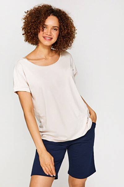 Faik Sönmez Kadın Taş Yuvarlak Yaka Düşük Kollu T-Shirt 60020 U60020