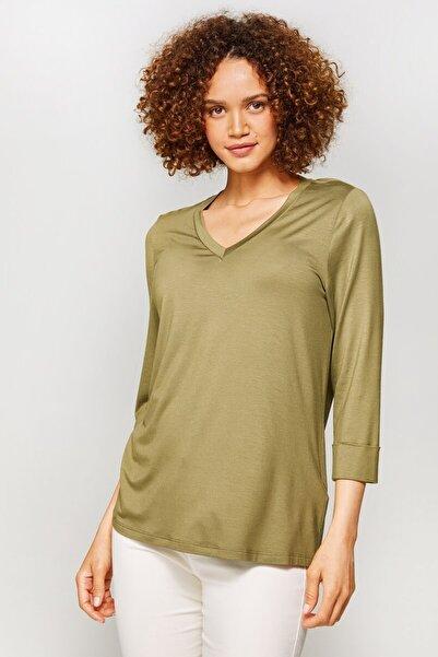 Faik Sönmez Kadın Açık Haki V Yaka T-Shirt 60025 U60025