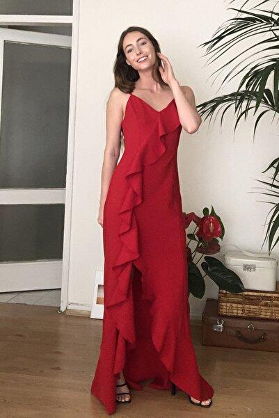 Kırmızı Fırfır Detaylı  Abiye & Mezuniyet Elbisesi TPRSS20AE0253