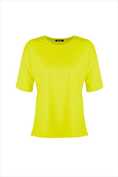 AYYILDIZ Kadın Fosforlu Sarı Oversıze Tunik 59519