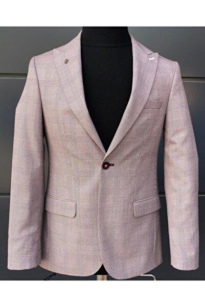 Diplomat Erkek Ekose Beyaz Blazer Ceket
