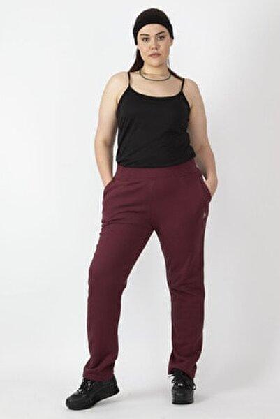 Kadın Bordo Tek Yanı Şeritli Bel Kısmı Lastikli Cepli Spor Pantolon 65N16433
