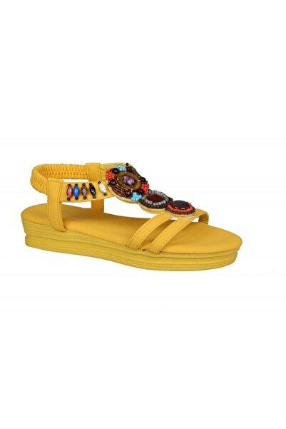 Guja 20y207 Sarı Taşlı Sandalet