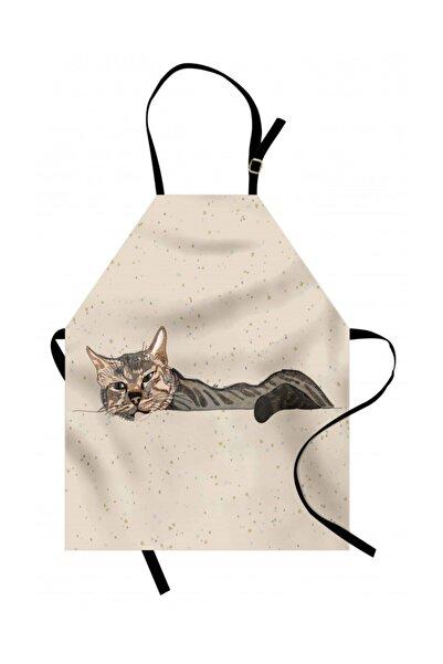 Orange Venue Hayvan Deseni Mutfak Önlüğü Tembel Kedi Desenli Rengirenk