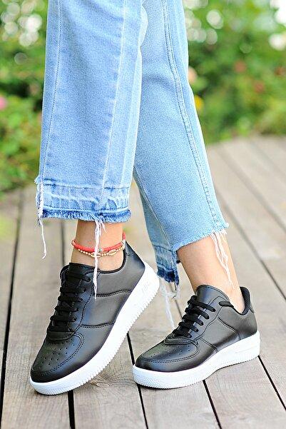 Pembe Potin Kadın Siyah Ayakkabı