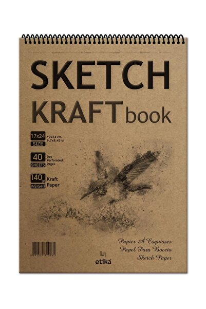 Etika Sketchbook Kraft B5 Spiralli 140 Gr. 40 Yaprak 17x24 Cm Eskiz Defteri