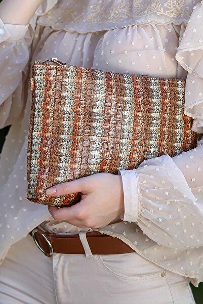 Chiccy Kadın Vintage Tüvit Desenli Vegan Clutch Çanta C30090400Cf97411