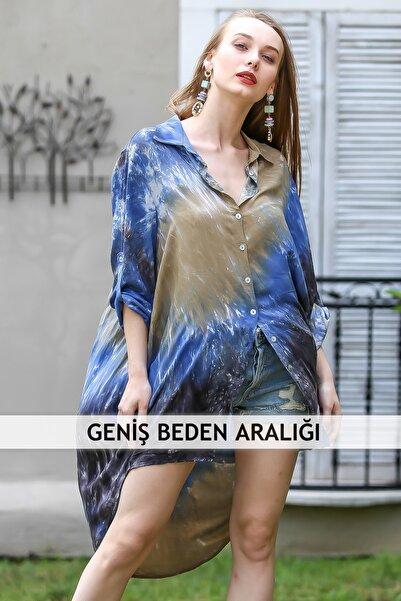 Chiccy Kadın Multi Bohem Batik Desenli Asimetrik Düğme Detaylı Dokuma Tunik Gömlek M10010400Gm99522