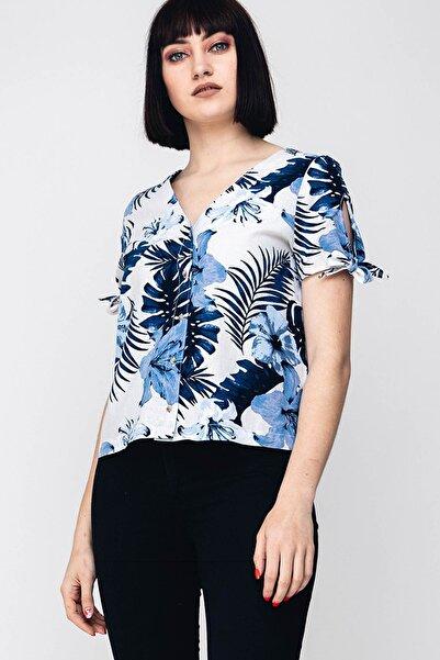 Vero Moda Kadın Ekru Çiçek Desenli Kısa Kollu Keten Karışımlı Gömlek 10214359 VMEFIE