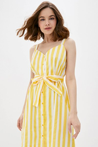 Vero Moda Kadın Sarı Çizgili Beli Kuşaklı Kolsuz Pamuklu Elbise 10227852 VMDELTA