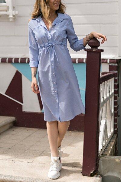 XHAN Çizgili Beli Bağcıklı Elbise 0YXK6-43349-12