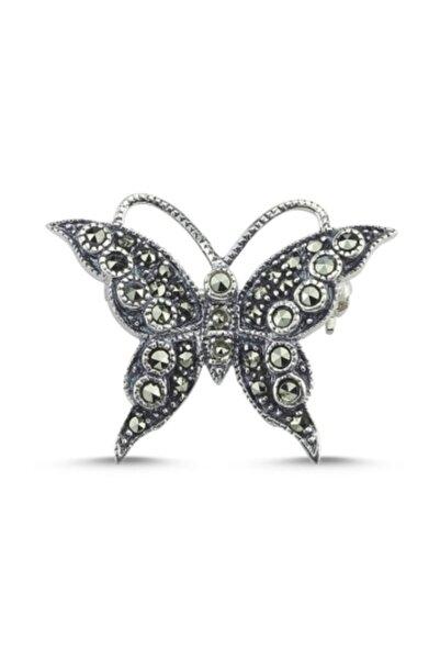 Silverella Gümüş Markazit Taşlı Kelebek Broş