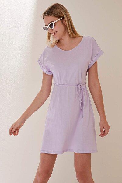 Kadın Mor Belden Bağlama Detaylı Örme Elbise N7160AZ.20SM.PR67