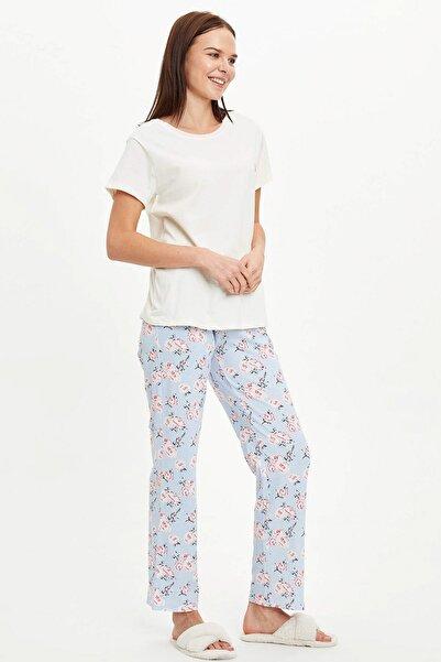 DeFacto Kadın Mavi Çiçek Desen Detaylı Pijama Takımı R3800AZ.20SM.BE343