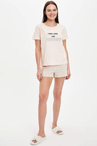 DeFacto Kadın Turuncu Baskı Detaylı Pijama Takmı R3798AZ.20SM.OG321