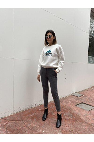 BSL Kadın Gri Beli Lastikli Pantolon