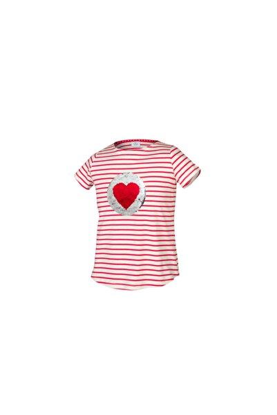 MERCEDES Kız Çocuk Kırmızı Çizgili T-shirt