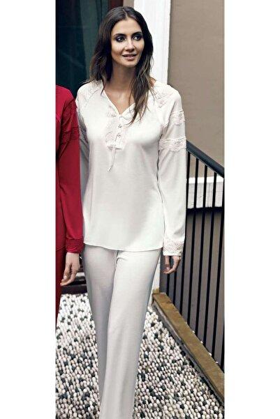 İmaj Miss Charmen 2021 Kadın Ikili Uzun Kol V Yaka Pijama Takım - Ekru