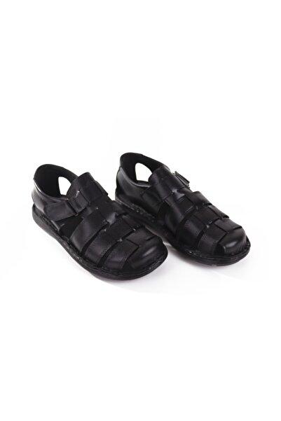 Hobby Siyah Erkek Deri Sandalet Ykt01