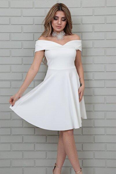 lovebox Esnek Scuba Kumaş Öpücük Yaka Beyaz Abiye Elbise