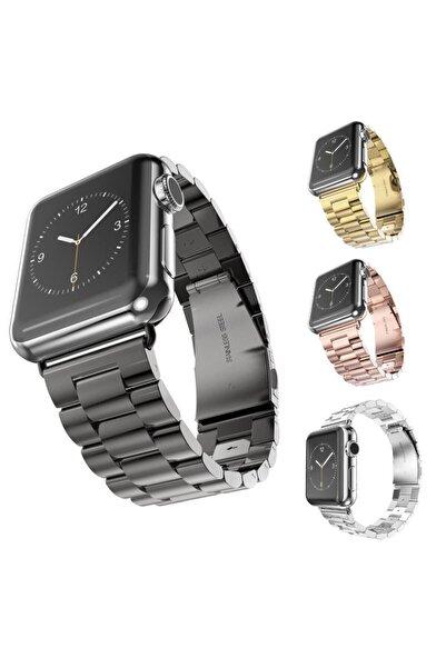 Techmaster Apple Watch 2 3 4 5 Serisi 42 Ve 44mm Steel Çelik Tme Kordon Siyah