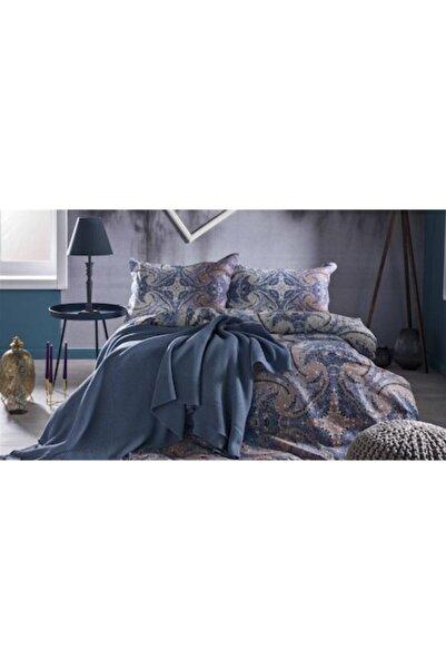 Bellona Violette Çift Kişilik Örgü Battaniye Ve Nevresim Seti Mavi