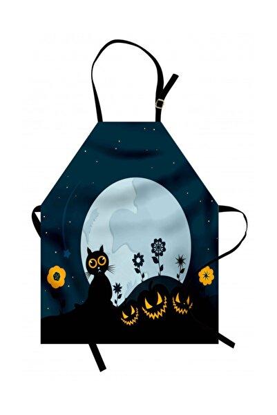 Orange Venue Hayvan Deseni Mutfak Önlüğü Kedi Ve Ay Desenli