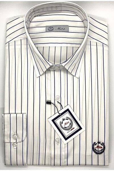 Mito Erkek Beyaz Mavi Çizgili Klasik Slim Fit Gömlek