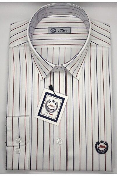Mito Erkek Beyaz Kırmızı-Mavi Çizgili Klasik Slim Fit Gömlek