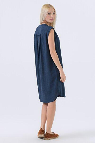 Kadın Lacivert Püsküllü Keten Elbise 20YG001322