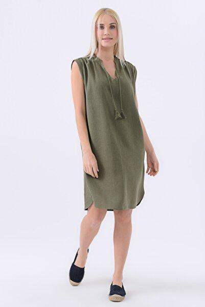 Kadın Haki Püsküllü Keten Elbise 20YG001322