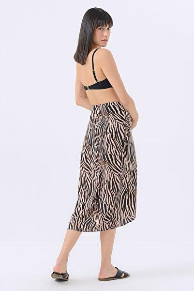 Kadın Siyah Zebra Desenli Uzun Etek 20YG001429